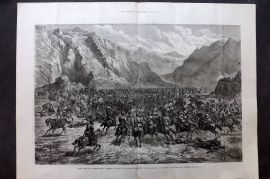 ILN 1880 LG Antique Print. War in Afghanistan: Charge of the 2nd Punjab Cavalry